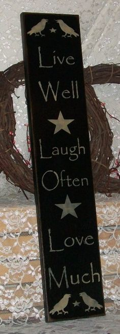 Live Well Laugh Often Love Much Vertical Sign- Primitive Country Painted Wall Sign,family sign, room decor on Etsy, $26.00