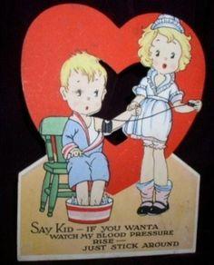 Vintage NURSE BLOOD PRESSURE Valentine Card c. 1940s (02/03/2011)