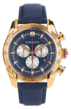 Versace 'V-Ray' Chronograph Leather Strap Watch, 44mm available at #Nordstrom