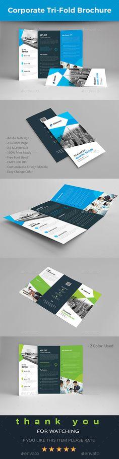 #Corporate #Tri-fold Brochure - #Brochures Print Templates