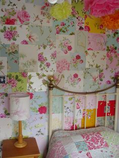 ~Patchwork walls Vintage Floral style~         Hertfordshire September 2013. #interior #bedroom #floral