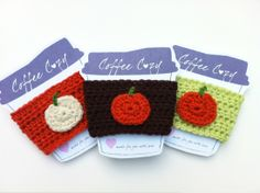 crochet pumpkin coffee cozy.  Could do apples for all my teacher friends!