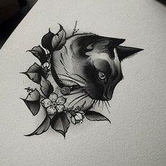 Каталог эскизов тату с кошками и рысями, идеи для разработки индивидуального дизайна, фотографии татуировок. Значение тату с кошкой и рысью.