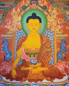 Realize that everything connects to everything else. ~ Leonardo da Vinci … Buddha Shakyamuni thangka painting. Buddhist Wheel Of Life, Buddhist Art, Tibet, Nepal Art, Reiki, Mandala, Thangka Painting, Art Music, Art School