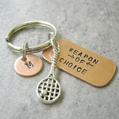 Tennis Weapon of Choice Keychain Coach Gifts, Team Gifts, Tennis Pictures, Tennis Workout, Tennis Gifts, Thing 1, Metal Letters, Rackets, Tennis Racket