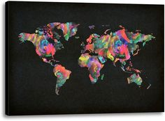 Picture of Colorful World Map I. #kidsdecor #kidscience #science #wallart #renovate #world #geography #preteen