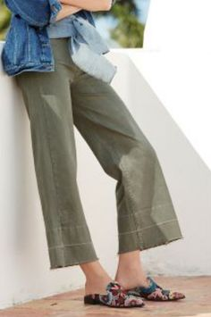 31e6639799819 Next Green Wide Leg Ankle Length Jeans Size Uk 16R rrp 30 LS170 SS 16