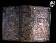 "This Calfskin Leather Book cover is one of only two covers found on the Mary Rose to incorporate human likenesses within the design. Within small panels on the front and back are the letters ""MD"", originally assumed to represent 1500 in Roman numerals, but now believed to represent Martin Doture, a London-based bookbinder and stationer during the period 1527–57.    Image © Mary Rose Trust Leather Book Covers, Leather Books, Medieval Books, Medieval Fantasy, Tudor History, British History, House Of Stuart, Tudor Monarchs, Tudor Dynasty"