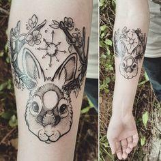 pretty bunny tattoo by makabrotka on instagram