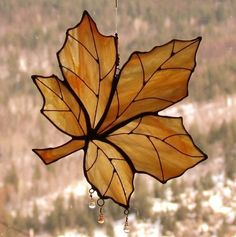 Custom Made Autumn Gold Maple Leaf Stained Glass Sun Catcher by zelma