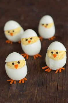 Skip the plain old deviled eggs for these adorable hatching chicks. They're sure to be the hit of your Easter brunch Skip the plain old deviled eggs for these adorable hatching chicks. They're sure to be the hit of your Easter brunch Easter Recipes, Egg Recipes, Holiday Recipes, Brunch Recipes, Brunch Food, Holiday Foods, Pizza Recipes, Recipes Dinner, Christmas Recipes