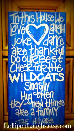 I want this!!  University of Kentucky, Kentucky Wildcats, C A T S, In this house sign. $17.00, via Etsy.