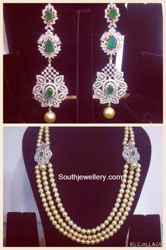 18 carat gold diamond hangings studded with diamonds, emeralds and south sea pearl drops which can also be used as side pendants. For inquiries contact: Parnicaa Jewellers +91-99667-76900 +91-98480-23561 Related PostsDiamond Pendant and Jhumkas SetLovely Diamond JhumkasStylish Diamond ChandbalisDiamond Ruby JhumkasBeautiful Polki Diamond ChandbalisTwo Step Pacchi Haram