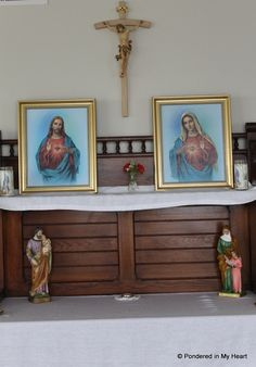 Creating a home altar, enshrining to the Sacred and Immaculate Hearts