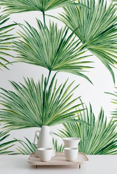 Watercolor Hand Drawn Palm Leaves Temporary Wallpaper, Palm Leaves Wall Mural…