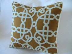 Decorative Designer Pillow Cover-16 inch-Palazzo Trellis In Light Aqua And Pumpkin $32