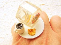 Kawaii Food Ring Coffee Cookie Jar Miniature Food Jewelry $15.00