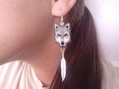 Native American Made Beaded Wolf Earrings by GreenKnobsBoutique, $16.00
