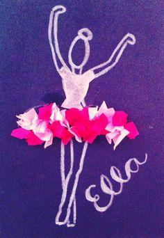 Ballerina Craft!  Black construction paper, white crayon, tissue paper!!  Voila!!