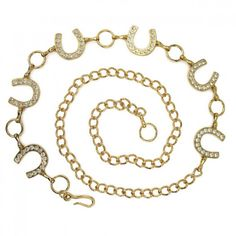 Gold Colored Rhinestone Horseshoe Chain Belt