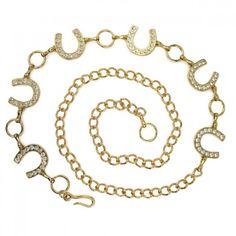 Gold Colored Rhinestone Horseshoe Chain Belt