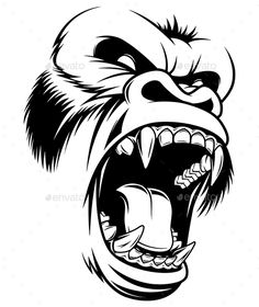 Illustration of wild gorilla head on a white background -.- Abbildung wilden Gorilla Kopf auf einem weißen Hintergrund – – Illustration of wild gorilla head on a white background – – - Gorilla Tattoo, Tattoo Stencils, Stencil Art, Skull Stencil, Tattoo Drawings, Art Drawings, Tattoos, Graffiti Tattoo, Illustration