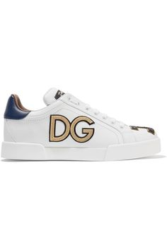 Dolce & Gabbana - Appliquéd Leather Sneakers - White