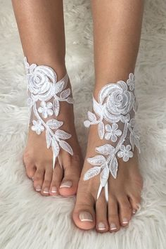white lace barefoot sandals,  FREE SHIP, beach wedding barefoot sandals, belly dance, lace shoes, bridesmaid gift, beach shoes Women, Men and Kids Outfit Ideas on our website at 7ootd.com #ootd #7ootd