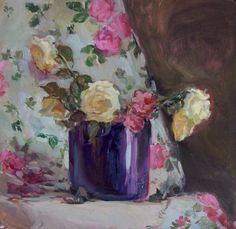 Abandoned roses day II, oil on card,