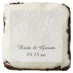 White Lace Wedding Square Brownie