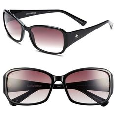Women's Converse 'Plugged In' 58mm Sunglasses ($55) ❤ liked on Polyvore featuring accessories, eyewear, sunglasses, black, converse sunglasses, star eyewear, converse eyewear, star sunglasses and gradient lens sunglasses