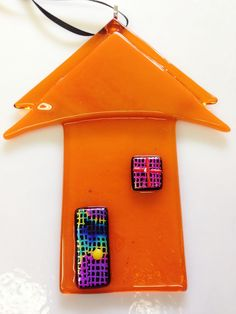 Handmade Orange Fused Glass House Ornament/Suncatcher w/Dichroic Accents