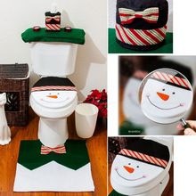 Creative home Free Shipping 2015 Christmas Decoration 4PCS Snowman Toilet Seat Cover and Rug Bathroom Set(China (Mainland))