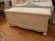 antique cedar hope chest shabby chic white distressed - eclectic - furniture - new york - Donna Thomas Vintage Chic Furniture Shabby Chic Interiors, Shabby Chic Homes, Shabby Chic Decor, Eclectic Furniture, Shabby Chic Furniture, Distressed Furniture, Antique Furniture, Painted Cedar Chest, Wooden Chest