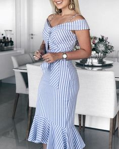 boutiquefeel / Cold Shoulder Striped Pep Hem Dress - Working Dresses - Ideas of Working Dresses - Cold Shoulder Striped Pep Hem Dress Dress Clothes For Women, Dresses For Teens, Dresses For Work, Tight Dresses, Dress Work, Midi Dresses, Girly Outfits, Classy Outfits, Dress Outfits