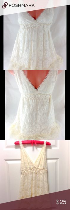 "Cream Lace Boho Halter Top Brand new with tags! Ultra Pink Brand all lace boho style halter. Completely lined. No need for extra cami. Size Medium. Cream / Ivory color. Measures 13"" across bust, and 11"" where gathered just under bustline.  Armpit to hem is 18"".  Please ask all your questions before you purchase! I am happy to help! Sorry, no trades or holds. Please, no lowball offers. Happy Poshing! Ultra Pink Tops Blouses"
