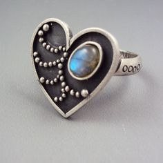 Silver Heart Ring With Labradorite or by danaevansstudio on Etsy, $75.00