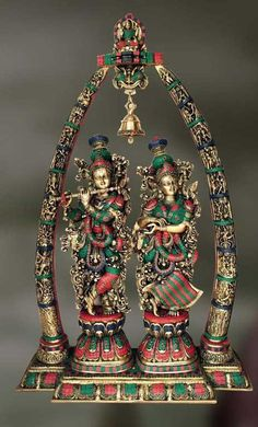 Brass and Stone Sculpture of Radha Krisna and Krishna playing flute