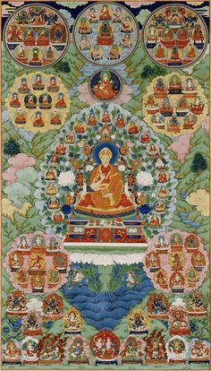 "Tibetan-style silk thangka depciting the Qianlong Emperor as Manjusri, bodhisatva, to denote his devotion to Tibetan buddhism and his role not only as Han Confucian-style ""son of heaven"", but Buddhist universal ruler, the cakravartin. Buddhist Symbols, Buddhist Art, Dalai Lama, Chinoiserie, Qianlong Emperor, Tibetan Mandala, Tantra Art, Chinese Buddhism, Tibetan Buddhism"