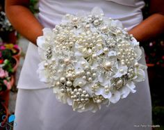 SMALL Pearl Brooch Bouquet by Blue Petyl Bridal by BluePetyl