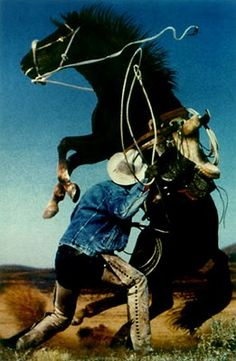 """Richard Prince, Cowboy series. During the early 1980s, Prince began re-photographing magazine ads featuring the Marlboro Man; this resulted in a series of Cowboy works. """"By re-photographing a magazine page and then developing the film in a cheap lab, the photos came out very strange. They looked like they could be my photos, but they weren't"""""""