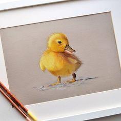 Soft pastel pastel drawing сухая пастель утенок duckling