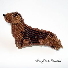 Beaded DACHSHUND dog pin/ brooch  wearable pet by thelonebeader, $55.00