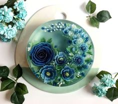 Jelly Art 50 Shades of Blue - Gelee Ideen Edible Crafts, Edible Art, Puding Art, Bolo Original, 3d Jelly Cake, Jelly Flower, Pea Flower, Jelly Desserts, Gelatin Recipes