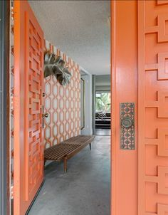 Orange - Geometric - Mid Century Modern Doors - Midcentury atomic ranch house Sliding Doors. Vtg 1950s/1960s  Front Entry Door: These distinctive, modern entryway designs feature signature, iconic details with a vintage flair to nourish the nostalgic. Front Doors, Garage Doors, Concrete Walls, Patios.
