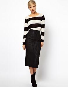 6b721cd5bd8 ASOS High Waisted Pencil Skirt in Animal Jacquard Long Black Pencil Skirt