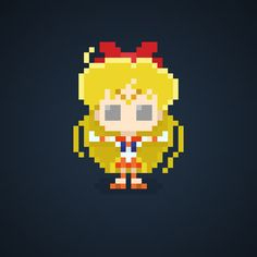 Famous Characters in Pixel Art • Minako Aino or Sailor Venus from Sailor Moon #minakoaino #sailorVenus #love #beauty #sailormoon #sailorsoldiers #sailor #moon #heroine #love #justice #pixel #pixelart #comics #cartoons #16bit #theoluk