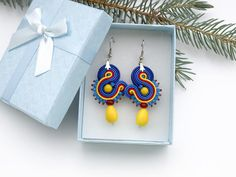 Colorful summer soutache earrings small yellow red blue beaded