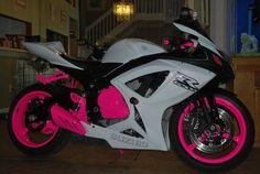 Suzuki GSXR Hot Pink, White Sports Bike.. might be in love.