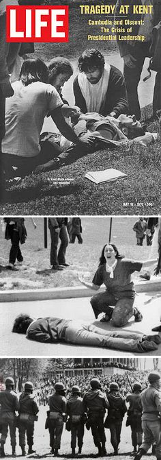 Monday, May 4, 1970: The Kent State Massacre — Kent State University, Ohio National Guardsmen shot four unarmed students to death and wounded nine others during a student protest. I went to KSU 20 years after this tragedy.